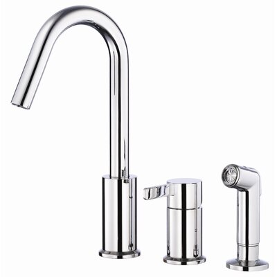 Amalfi Single Handle Deck Mount Kitchen Faucet with Spray Finish: Chrome
