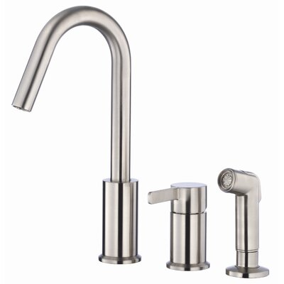 Amalfi Single Handle Deck Mount Kitchen Faucet with Spray Finish: Stainless Steel