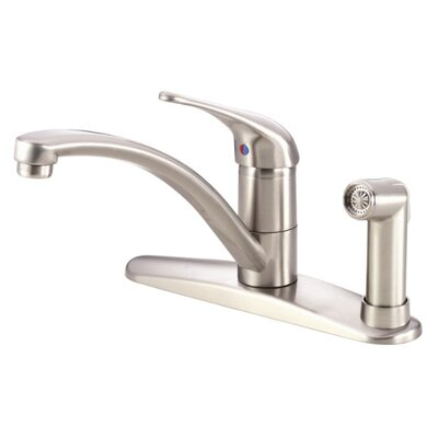 Melrose Single Handle Deck Mount Kitchen Faucet with Spray and Dispenser Finish: Stainless Steel