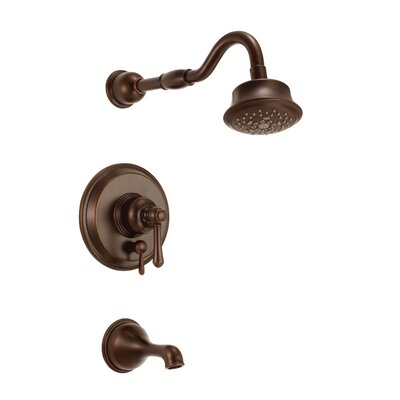 Opulence Diverter Tub and Shower Faucet Trim with Lever Handle Finish: Tumbled Bronze