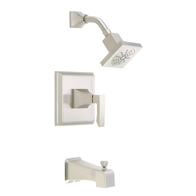 Logan Square Volume Tub and Shower Faucet Trim with Lever Handle Finish: Brushed Nickel