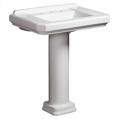 Cirtangular 30 Bathroom Sink Pedestal  Finish: White