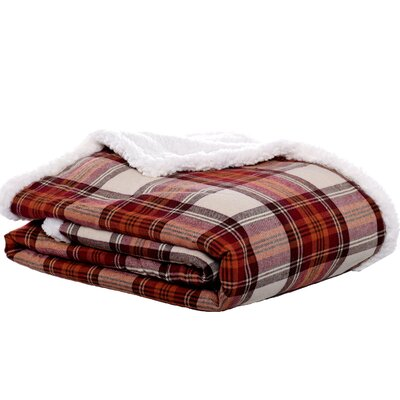 Edgewood Plaid Flannel Sherpa Throw Blanket Color: Red