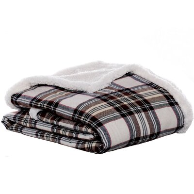 Edgewood Plaid Flannel Sherpa Throw Blanket Color: Khaki