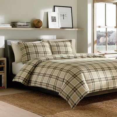 Edgewood Plaid Duvet Cover Set Size: King, Color: Green