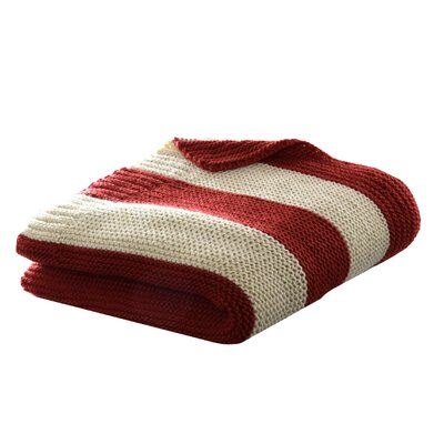 Rugby Stripe Cable Knit Throw Blanket Color: Red / Oyster