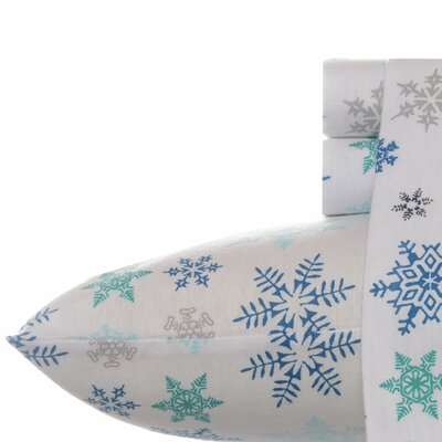 Tossed Snowflake Cotton Flannel Sheet Set Size: King