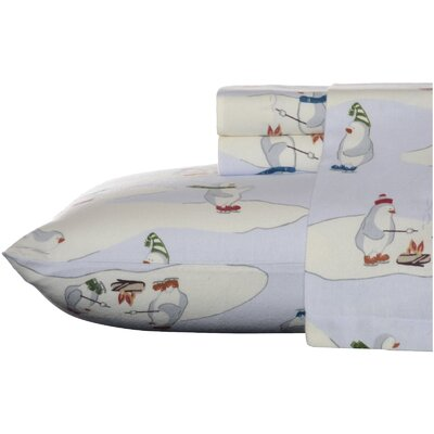 Skating Penguins 100% Cotton Sheet Set Size: Twin XL