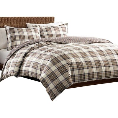 Edgewood Plaid Duvet Cover Set Size: King, Color: Khaki