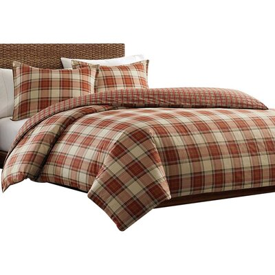 Edgewood Plaid Duvet Cover Set Color: Red, Size: King