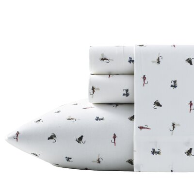 200 Thread Count Cotton Fishing Flies Sheet Set Size: Twin