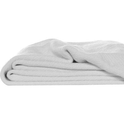 Herringbone Throw Blanket Color: White, Size: Full/Queen