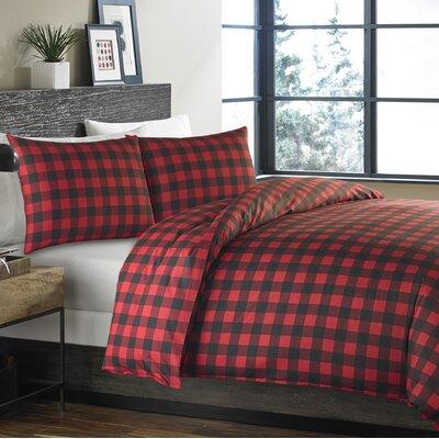 Mountain Plaid 2 Piece Reversible Comforter Set Color: Scarlet