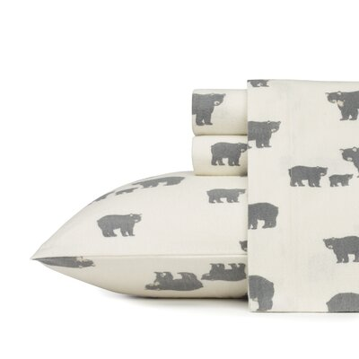 Bear Family 100% Cotton Flannel Sheet Set Size: Queen