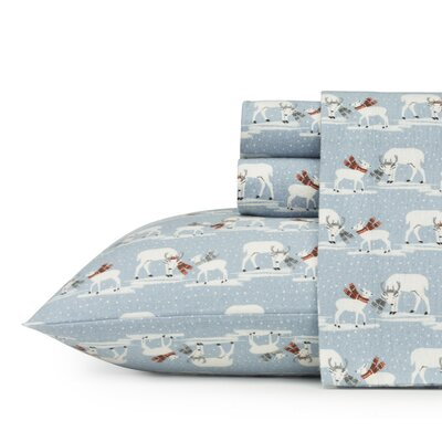 Blustery Day 100% Cotton Flannel Sheet Set Size: Full