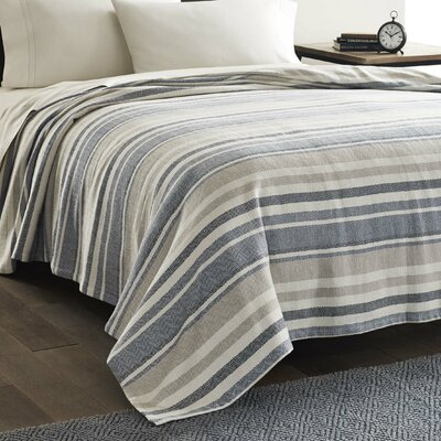 Herringbone Cotton Blanket Color: Blue, Size: King