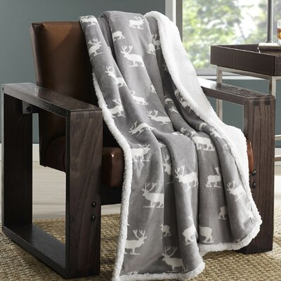 New Castle Plush Throw Color: Gray Elk
