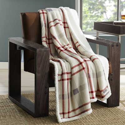 New Castle Plush Throw Color: Red Stripe
