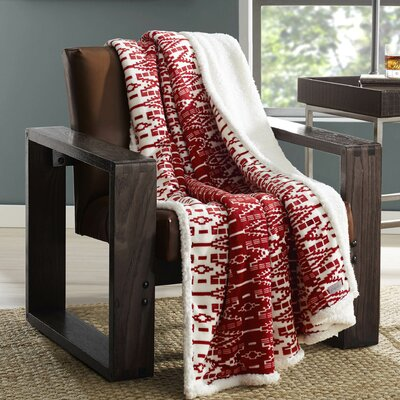 New Castle Plush Throw Color: Aztec Red