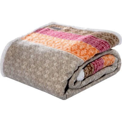 Fairisle Indiana Fleece Throw Blanket Color: Khaki