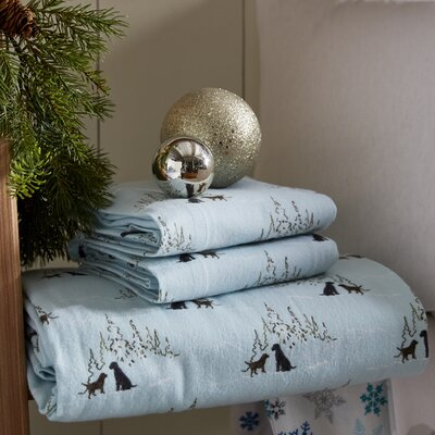Dog Friends Flannel Sheet Set Size: Twin