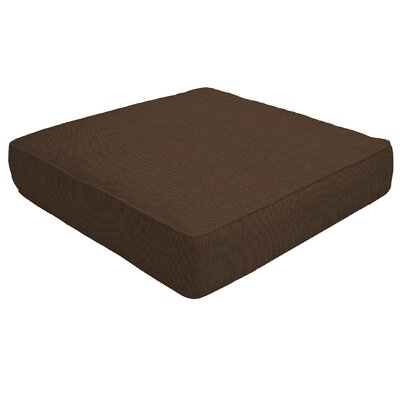 Double Piped Outdoor Sunbrella Ottoman Cushion Size: 5 H x 26 W x 24 D, Fabric: Coffee