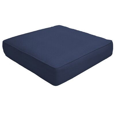 Double Piped Outdoor Sunbrella Ottoman Cushion Fabric: Navy, Size: 5 H x 26 W x 24 D