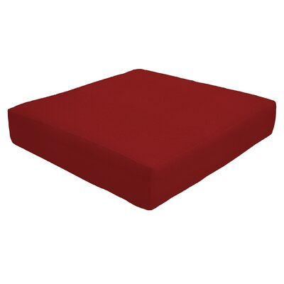 Double Piped Outdoor Sunbrella Ottoman Cushion Fabric: Jockey Red, Size: 5 H x 26 W x 24 D