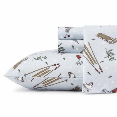 Snow Days Flannel Sheet Set Size: Queen