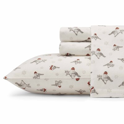 Frosty Finch Flannel Sheet Set Size: Queen