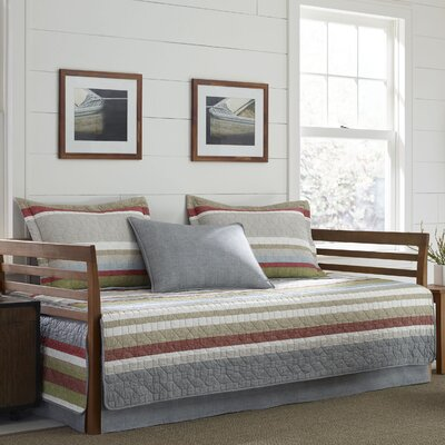 Salmon Ladder Stripe 100% Cotton 5 Piece Reversible Daybed Set