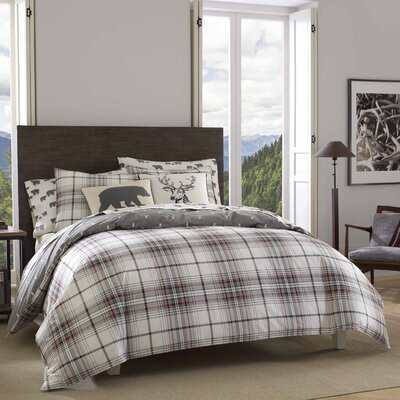 Alder Plaid 100% Cotton Duvet Cover Set Size: Twin