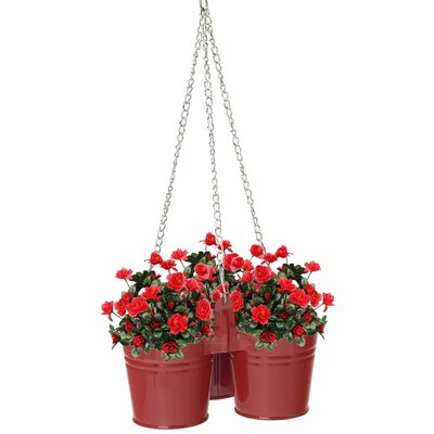 Triple Metal Hanging Planter Size: 6.5 H x 14 W, Color: Red