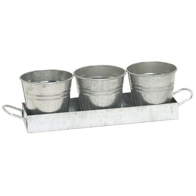 3-Piece Galvanized Steel Pot Planter Set (Set of 12)