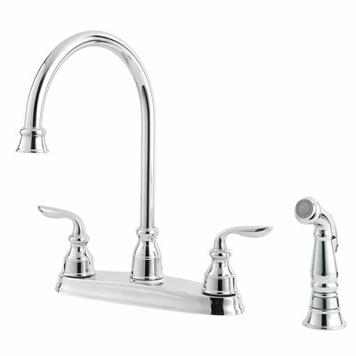 Avalon Double Handle Deck Mounted Kitchen Faucet with Side Spray Finish: Polished Chrome