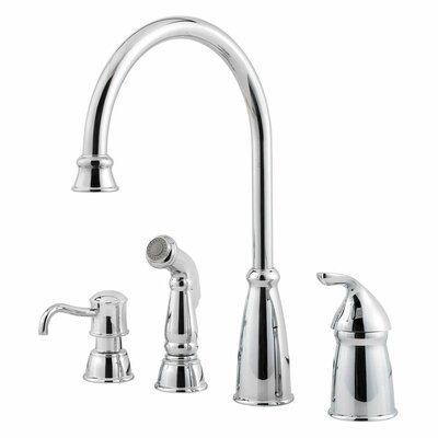 Avalon Single Handle Deck Mounted Kitchen Faucet with Soap Lotion Dispenser and Side Spray Finish: Polished Chrome