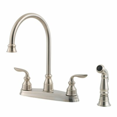 Avalon Double Handle Deck Mounted Kitchen Faucet with Side Spray Finish: Stainless Steel