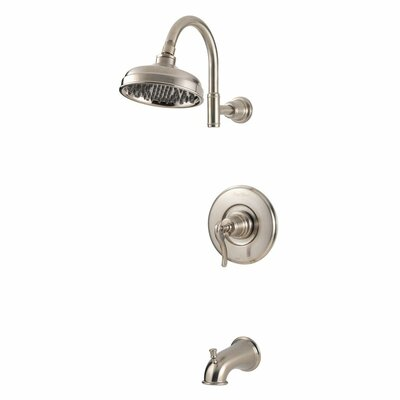 Ashfield Diverter Tub and Shower Faucet Trim with Lever Handle Finish: Brushed Nickel