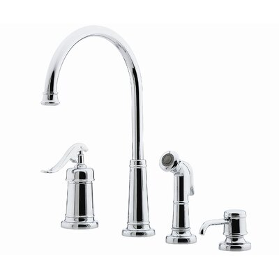 Ashfield Single Handle Deck Mounted Kitchen Faucet with Soap Lotion Dispenser and Side Spray Finish: Polished Chrome