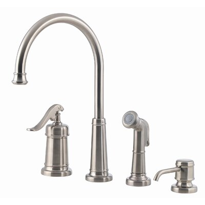 Ashfield Single Handle Deck Mounted Kitchen Faucet with Soap Lotion Dispenser and Side Spray Finish: Brushed Nickel