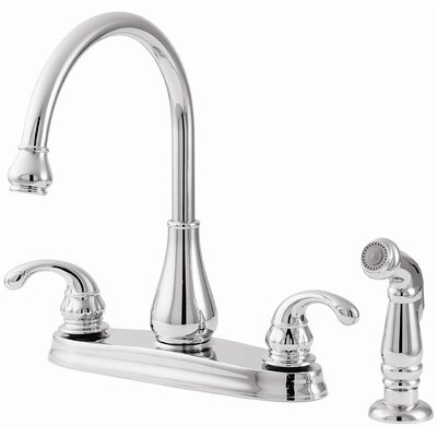 Treviso Double Handle Deck Mounted Kitchen Faucet with Side Spray Finish: Polished Chrome