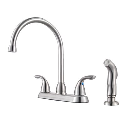 Double Handle Standard Kitchen Faucet Finish: Stainless Steel