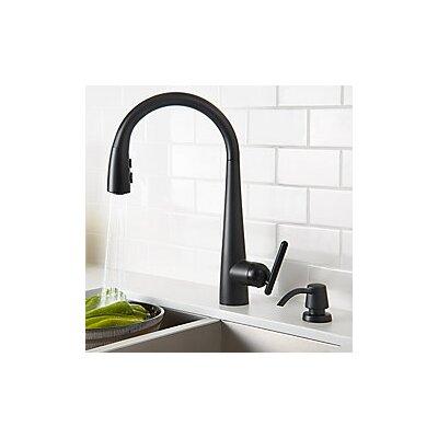 Lita Single Handle Deck Mounted Kitchen Faucet with Soap Dispenser Finish: Matte Black