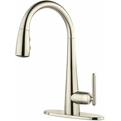 Lita Pull Down Single Handle Kitchen Faucet Finish: Polished Nickel