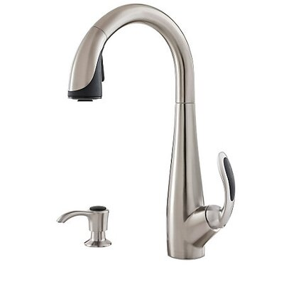 Nia Single Handle Deck Mounted Kitchen Faucet with Soap Dispenser Finish: Stainless Steel