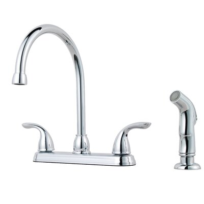 Double Handle Kitchen Faucet with Side Spray Finish: Tuscan Bronze