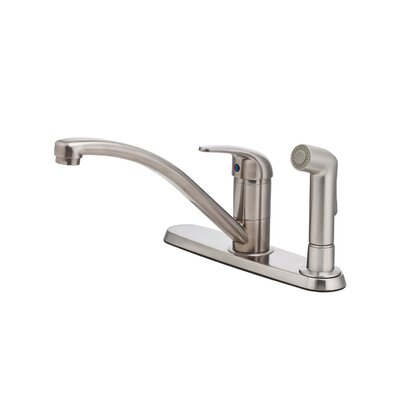 Pfirst Series Single Handle Deck Mounted Kitchen Faucet with Side Spray Finish: Stainless Steel