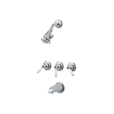Savannah 3 Handle Tub and Shower Faucet Trim with Lever Handles Finish: Porcelain and Polished Chrome