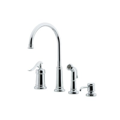 Ashfield Single Handle Deck Mounted Bar Faucet with Side Spray and Soap Dispenser Finish: Polished Chrome