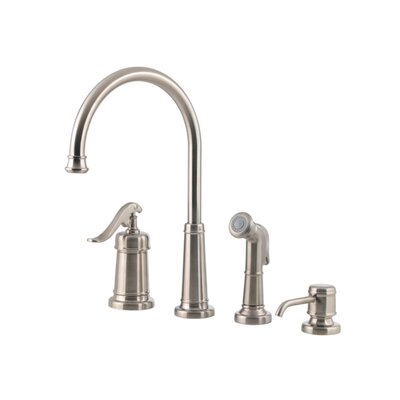 Ashfield Single Handle Deck Mounted Bar Faucet with Side Spray and Soap Dispenser Finish: Rustic Pewter